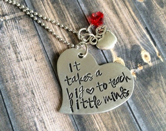 It takes a big heart to teach little minds necklace, Preschool teacher gift, teacher gift, kindergarten teacher gift