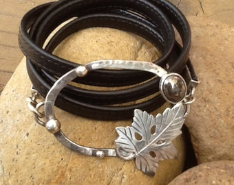 Pyrite and Silver Leather Wrap Bracelet
