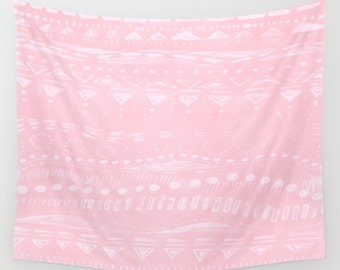 Light Pink Wall Tapestry, pink wall tapestry, blush pink tapestry, geometric tapestry, dorm room decor, pale pink tapestry