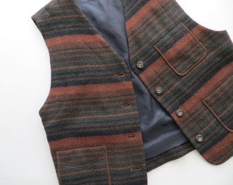 80 Wool Vest Striped Button Down Mahogany Burgundy Black Winter Outdoor Vest Women Size Small