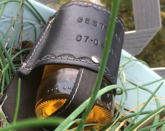 Country Wedding, Rustic Wedding, Beer Gift, Best Man Leather Beer Holster, Personalized Leather Gift, Groomsman Gift, Beer Holder