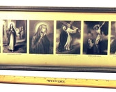 Vintage Long Picture Frame with Glass for Group Photo 1930's Silver and Gray