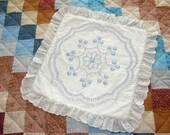 VINTAGE PILLOW CASE Handmade, with raised blue thread decorations and a ruffle - slightly padded