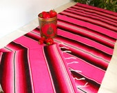 WEDDING HOT PINK Large Serape Cloth Table Runner - Hot Pink and Black Stripes - Made from Mexican serape cloth, large banquet table size
