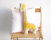 Giraffe stuffed toy, yellow pillow, stuffed animal, Decorative cushion, Children pillow, kids toy, deco baby room stuffed toy, nursery room