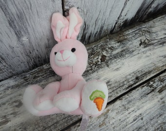 Vintage Pink Easter Bunny Rabbit Stuffed Animal Toy