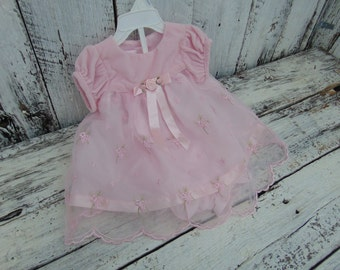 Vintage Pink Rose Ruffled Chiffon Dress Girl 3 6 month mth Baby