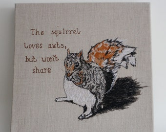 Squirrel Loves Nuts Free-Motion Embroidery Wall Hanging