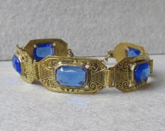 Art Deco 1920's Egyptian Revival Gilt Brass & Blue Glass Vintage Rhinestone Bracelet