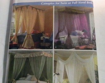 SALE Canopy Bed Curtains Twin or Full size sewing pattern Simplicity 4532 UNCUT FF