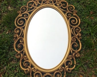 vintage Syroco wall mirror gold ornate 70s hollywood regency
