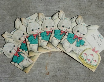 6 Vintage 1960s Hallmark Bunny Baby Shower Cards