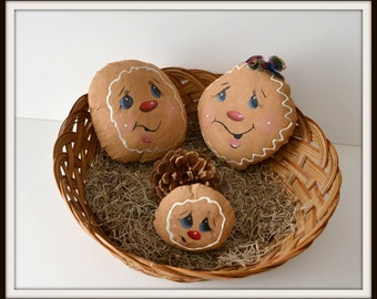 Gingerbread  ornaments primitive  bowl filler