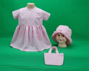 Pink dress,hat and bag for 1-2 year old
