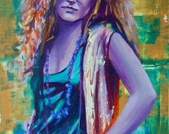 Janis Joplin Giclee 12x18 Poster Musician Guitar Celebrity Print Wall Art Colorful Abstract Pop Art