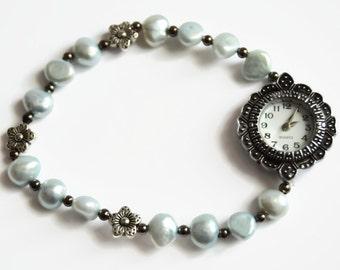 Stretch blue pearl ladies watch, ladies watch bracelet, digital wrist watch, expanding bracelet watch, blue pearl watch, fashion watch