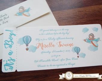 Little Pilot Hot Air Balloon Boy Baby Shower   Babyshower ticket boarding pass Invitation   Hotair Balloon