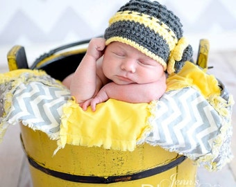 Ready to Ship,Newborn Photo Prop,Baby Girl Brim Hat,Yellow,Gray,Newborn Girl Brim Hat,Girl Hat Photo Prop,Handmade Brim hat,Girl Photo Prop