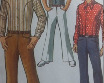 Vintage Simplicity 8902 Sewing Pattern Boys Body Shirt and Bell Bottom Hip Hugger Pants Size 16