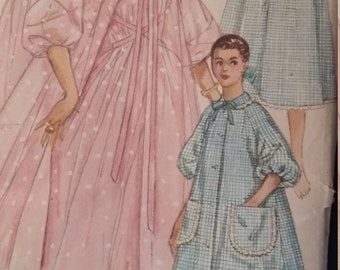 UNCUT and FF Pattern Pieces Vintage Simplicity 1850 Sewing Pattern Size 13 Bust 33 Nightgown,  Negligee, and Brunch Coat