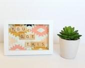 Hustle Hard Wall Art, Scrabble Inspired Frame, Scrabble Inspired Word Art, Fabric Art, Scrabble Inspired Gift