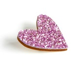 Purple Glitter Heart Pin, Glitter Heart Brooch, Wooden Love Heart Brooch Pin, Valentines Pin