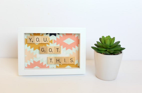 You Got This Wall Art, Scrabble Inspired Frame, Scrabble Inspired Word Art, Fabric Art, Scrabble Inspired Gift