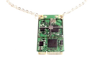 Handmade cyberpunk pendant necklace mother board computer steampunk electronic electropunk geek recycled upcycled