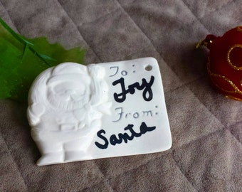 Reusable Christmas Gift Tags, Porcelain Gift Tags, Santa Tags