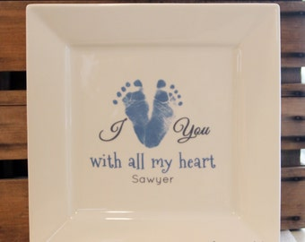 Footprint Art, I heart you Plate made from you child's actual footprints. Mother's Day gift. Baby footprint Art
