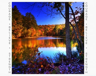 Greeting Cards for Breast Cancer Patients & Survivors, Card for Cancer Patient, Cancer Support, Connecticut Fall Foliage, Autumn, Reflection
