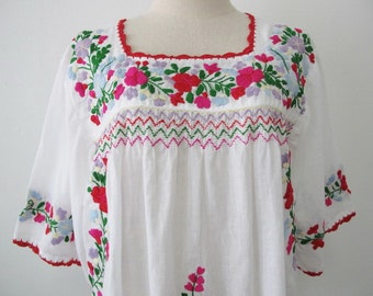 Embroidered Mexican Blouse Cotton Top In White, Boho Blouse, Hippie Top