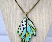 Leaf Necklace - Air Dry Clay - Mixed Media - Art Necklace - One Of A KInd- Blue Green Black White - Dictonary Page - Hand Painted