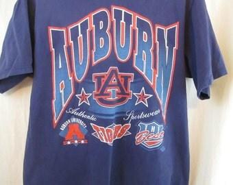 Vintage 80s Auburn Tigers University Football Large Logo T Shirt Sz L War Eagle