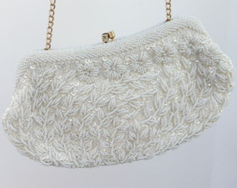 Ivory Vintage Beaded Evening Bag, Bridal Purse, Clutch, Bridal Evening Bag