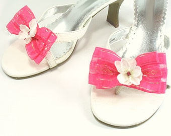 Pink Fuchsia Flower Bow Shoe Clips, Casual or Dressy Shoe Clips for Flip Flops, High Heels, Sandles and Ballet Flats, Bridesmaid Shoe Clips