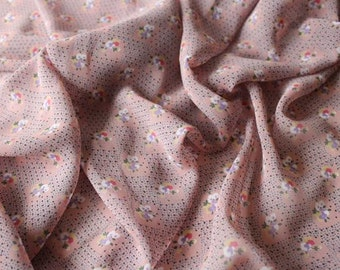 SALE -Pink Floral Print Chiffon - Retro Print Fabric - 1930s Style Fabric - Vintage Style Fabric - Sheer Fabric