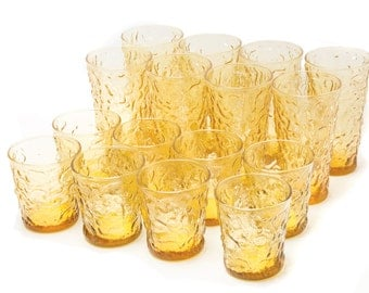 Anchor Hocking Milano Crinkle Amber Glasses
