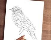 "Coloring Printable Page 8""x10"" jpg - Geometric bird - Adult coloring page - Printable art - Digital art Modern - Nature Blue-winged warbler"