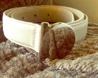 Vintage Ferragamo White Leather Belt