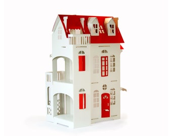 Cardboard luxury - Paper Imagination White Doll House - Red Deco - Red Roof Doors Windows
