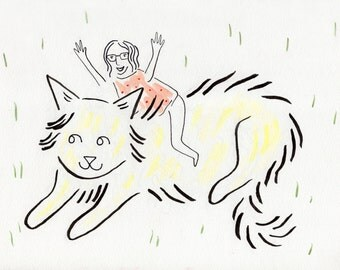 Custom Portrait Illustration of You And Your Pet