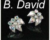 This item is ON SALE B. David Signed Aurora Borealis Ab rhinestone Clip Back Earrings silver tone faux pearl vintage 1960s silver tone