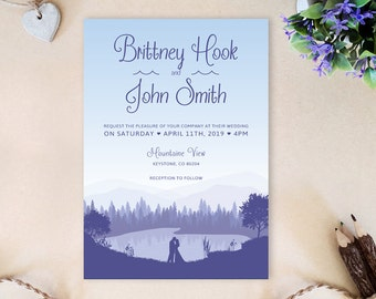 Romantic wedding invitation printed | Forest lake wedding invitations | Bride and groom | Original wedding invites | Marriage cards