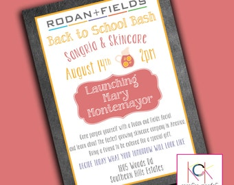 Custom Party or Event Invitation - Chalkboard - Sangria & Skincare -  Rodan and Fields - Launch Party - You choose your wording