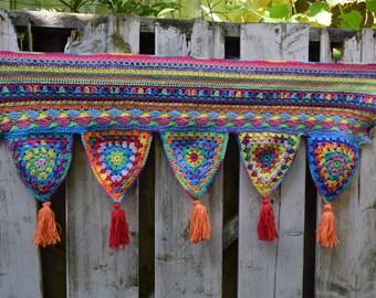 Crocheted toran in bright, happy colors, valance, boho decoration, window decoration