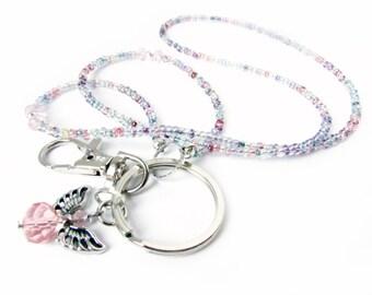 Angel Eyeglass Lanyard, ID Lanyard, Badge Holder, Keychain Necklace, Beaded Lanyard,  for Mom, EL12