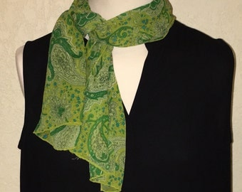 Paisley Green Vintage Oblong Scarf.