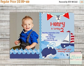 SALE Printable Nautical invitaitons, Whale Boys Birthday Party Invitation, Sailor Invite, Customized Boy First Birthday Party Supplies PI150