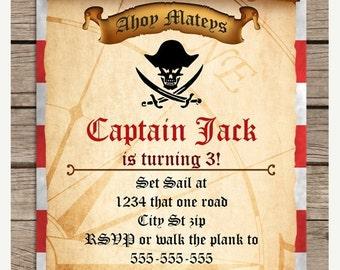 SALE Pirate Treasure Map Birthday Invitation, Printable Treasure Map Invitation, Pirate Invitations, Pirate Birthday Party PI123